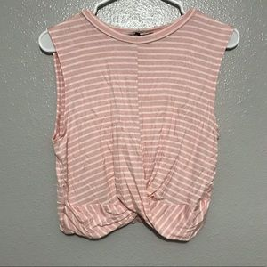 Daisy May Pink & White Striped Sleeveless Crop Top
